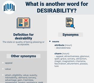 desirability, synonym desirability, another word for desirability, words like desirability, thesaurus desirability