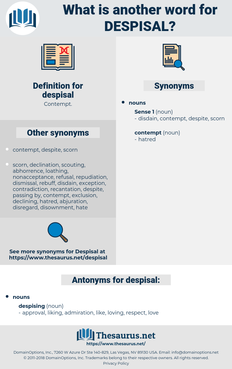 despisal, synonym despisal, another word for despisal, words like despisal, thesaurus despisal