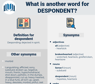 despondent, synonym despondent, another word for despondent, words like despondent, thesaurus despondent