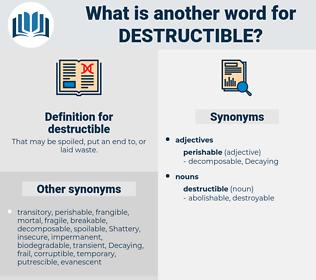 destructible, synonym destructible, another word for destructible, words like destructible, thesaurus destructible