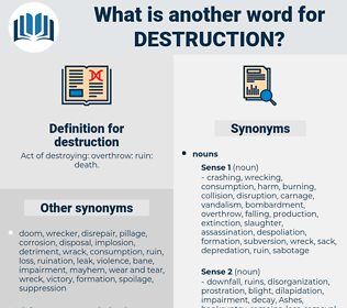destruction, synonym destruction, another word for destruction, words like destruction, thesaurus destruction