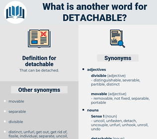 detachable, synonym detachable, another word for detachable, words like detachable, thesaurus detachable