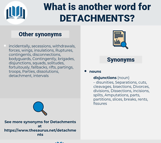 detachments, synonym detachments, another word for detachments, words like detachments, thesaurus detachments