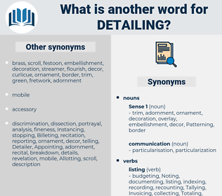 detailing, synonym detailing, another word for detailing, words like detailing, thesaurus detailing