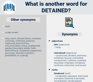 Detained, synonym Detained, another word for Detained, words like Detained, thesaurus Detained