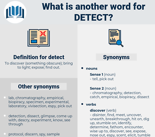 detect, synonym detect, another word for detect, words like detect, thesaurus detect