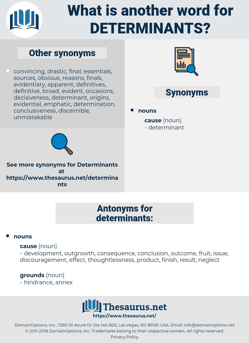 determinants, synonym determinants, another word for determinants, words like determinants, thesaurus determinants