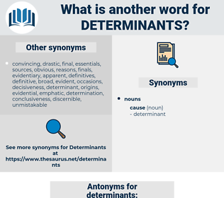 determinants, synonym determinants, another word for determinants, words like determinants, thesaurus determinants