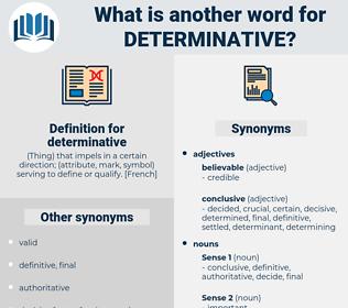 determinative, synonym determinative, another word for determinative, words like determinative, thesaurus determinative