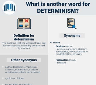determinism, synonym determinism, another word for determinism, words like determinism, thesaurus determinism