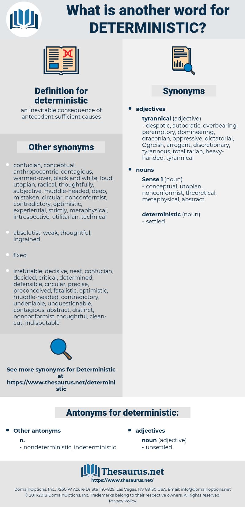 deterministic, synonym deterministic, another word for deterministic, words like deterministic, thesaurus deterministic