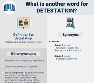 detestation, synonym detestation, another word for detestation, words like detestation, thesaurus detestation