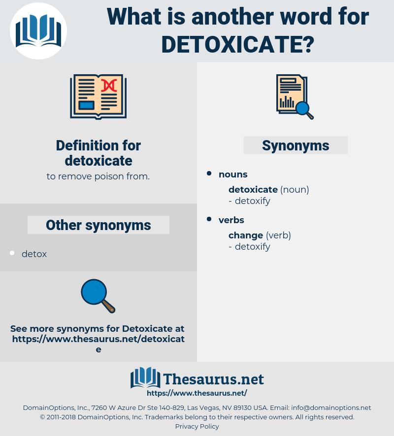 detoxicate, synonym detoxicate, another word for detoxicate, words like detoxicate, thesaurus detoxicate