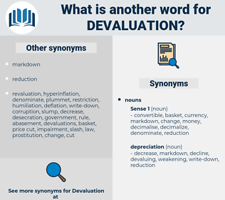 devaluation, synonym devaluation, another word for devaluation, words like devaluation, thesaurus devaluation