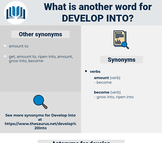 develop into, synonym develop into, another word for develop into, words like develop into, thesaurus develop into