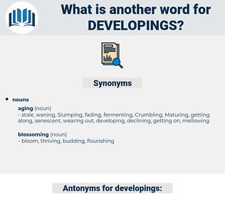 developings, synonym developings, another word for developings, words like developings, thesaurus developings