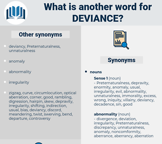 deviance, synonym deviance, another word for deviance, words like deviance, thesaurus deviance
