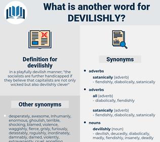 devilishly, synonym devilishly, another word for devilishly, words like devilishly, thesaurus devilishly