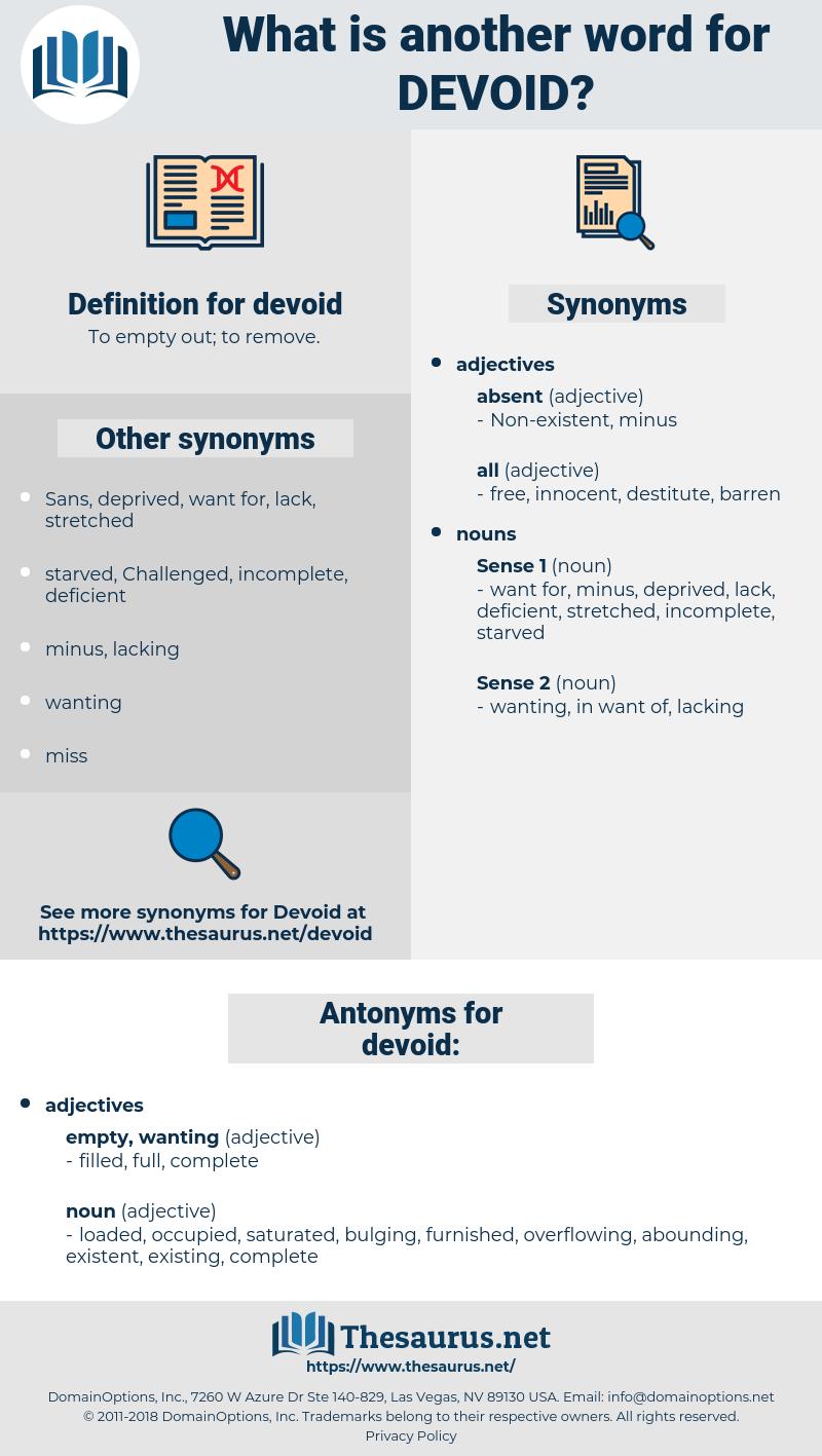 devoid, synonym devoid, another word for devoid, words like devoid, thesaurus devoid