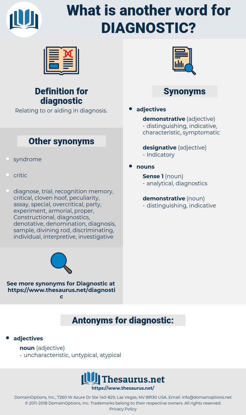 diagnostic, synonym diagnostic, another word for diagnostic, words like diagnostic, thesaurus diagnostic