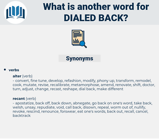 dialed back, synonym dialed back, another word for dialed back, words like dialed back, thesaurus dialed back