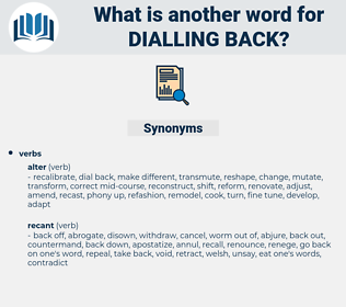 dialling back, synonym dialling back, another word for dialling back, words like dialling back, thesaurus dialling back
