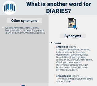 Diaries, synonym Diaries, another word for Diaries, words like Diaries, thesaurus Diaries