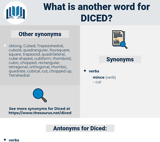 Diced, synonym Diced, another word for Diced, words like Diced, thesaurus Diced