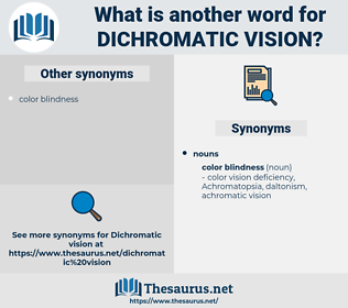 dichromatic vision, synonym dichromatic vision, another word for dichromatic vision, words like dichromatic vision, thesaurus dichromatic vision