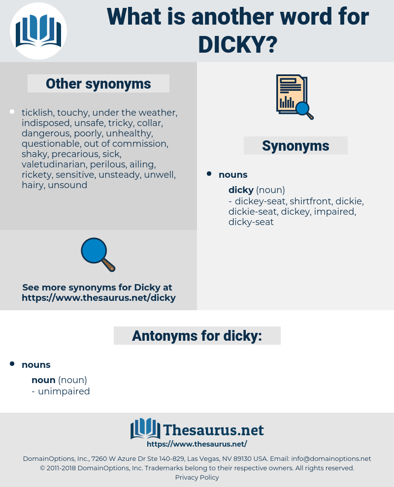 dicky, synonym dicky, another word for dicky, words like dicky, thesaurus dicky