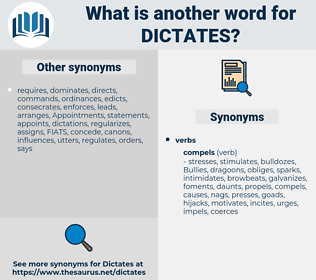 dictates, synonym dictates, another word for dictates, words like dictates, thesaurus dictates