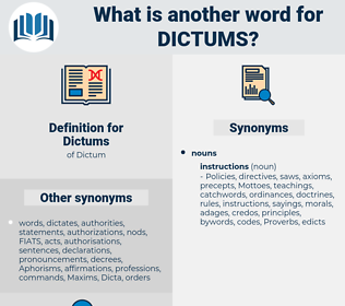 Dictums, synonym Dictums, another word for Dictums, words like Dictums, thesaurus Dictums