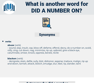 did a number on, synonym did a number on, another word for did a number on, words like did a number on, thesaurus did a number on