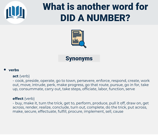 did a number, synonym did a number, another word for did a number, words like did a number, thesaurus did a number