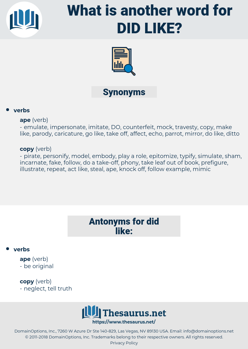 did like, synonym did like, another word for did like, words like did like, thesaurus did like