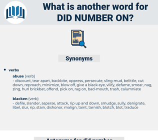did number on, synonym did number on, another word for did number on, words like did number on, thesaurus did number on