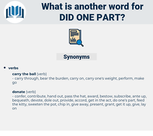 did one part, synonym did one part, another word for did one part, words like did one part, thesaurus did one part