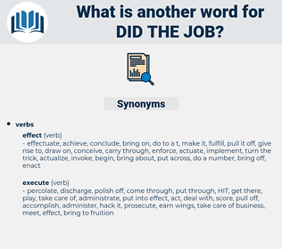 did the job, synonym did the job, another word for did the job, words like did the job, thesaurus did the job