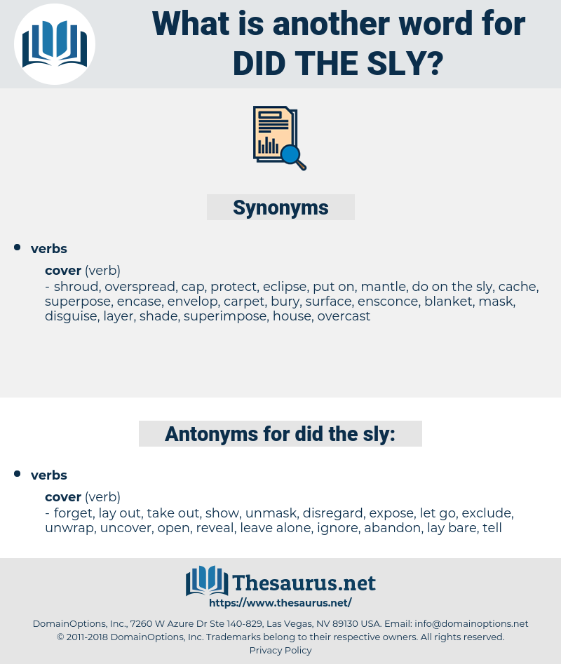 did the sly, synonym did the sly, another word for did the sly, words like did the sly, thesaurus did the sly