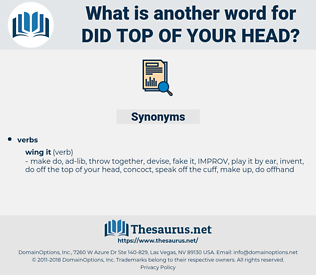 did top of your head, synonym did top of your head, another word for did top of your head, words like did top of your head, thesaurus did top of your head