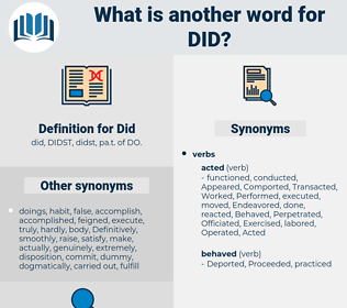 Did, synonym Did, another word for Did, words like Did, thesaurus Did