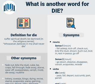 die, synonym die, another word for die, words like die, thesaurus die