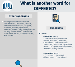 Differed, synonym Differed, another word for Differed, words like Differed, thesaurus Differed