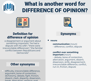 difference of opinion, synonym difference of opinion, another word for difference of opinion, words like difference of opinion, thesaurus difference of opinion