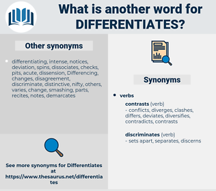 differentiates, synonym differentiates, another word for differentiates, words like differentiates, thesaurus differentiates