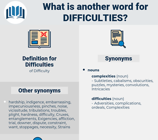 Difficulties, synonym Difficulties, another word for Difficulties, words like Difficulties, thesaurus Difficulties
