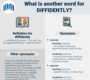 diffidently, synonym diffidently, another word for diffidently, words like diffidently, thesaurus diffidently