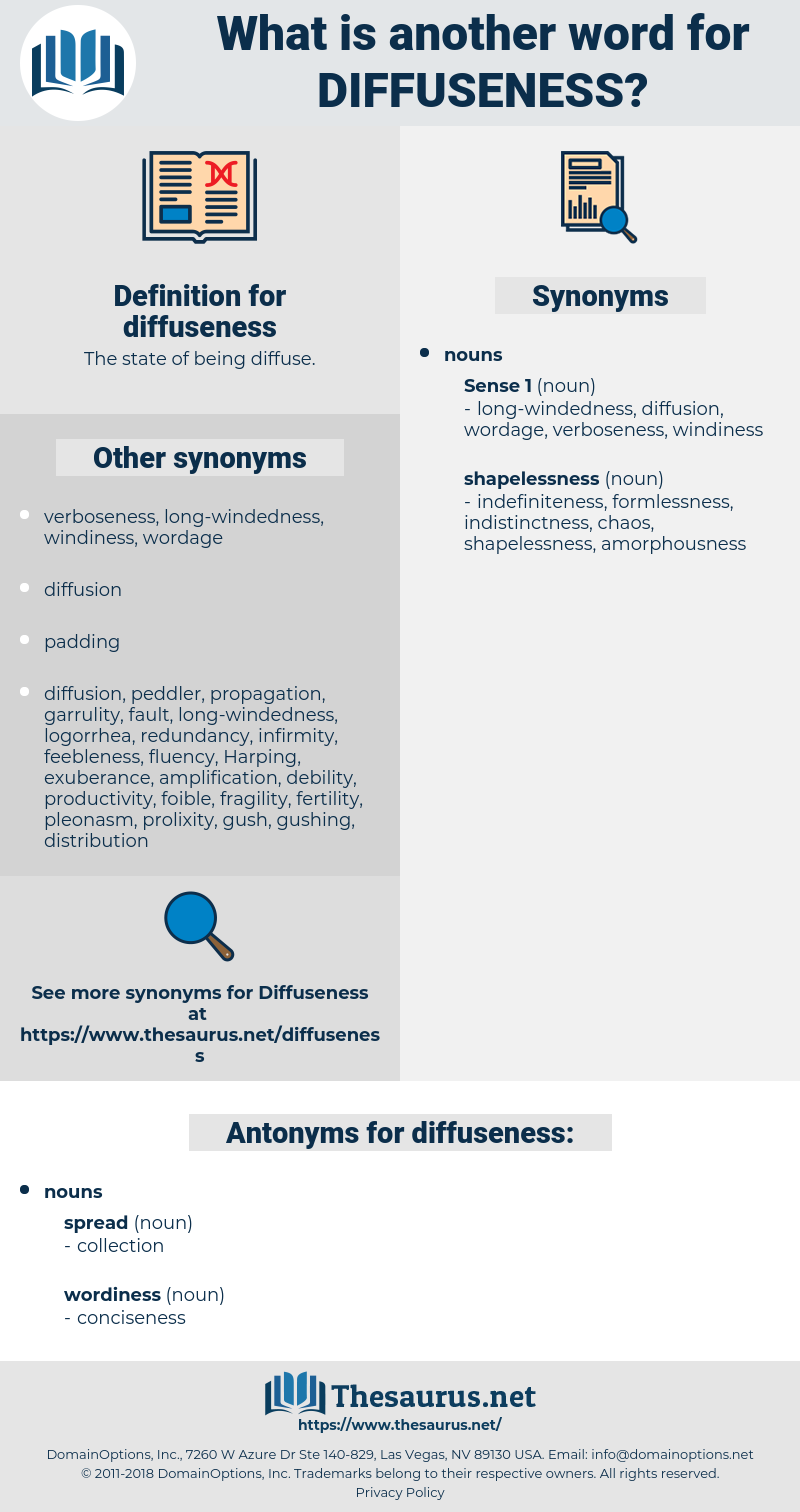 diffuseness, synonym diffuseness, another word for diffuseness, words like diffuseness, thesaurus diffuseness