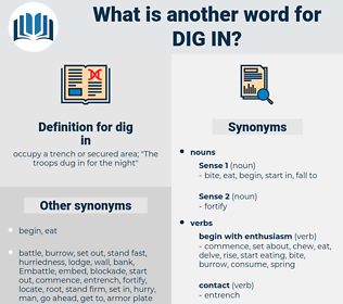 dig in, synonym dig in, another word for dig in, words like dig in, thesaurus dig in