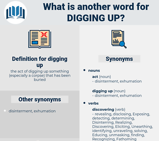 digging up, synonym digging up, another word for digging up, words like digging up, thesaurus digging up